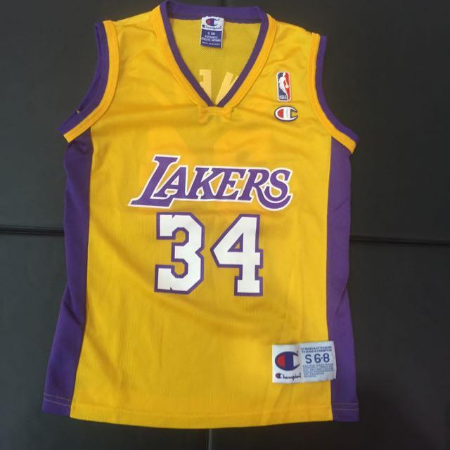 絕版逸品Champion Lakers #34 O'Neal 球衣 青年S