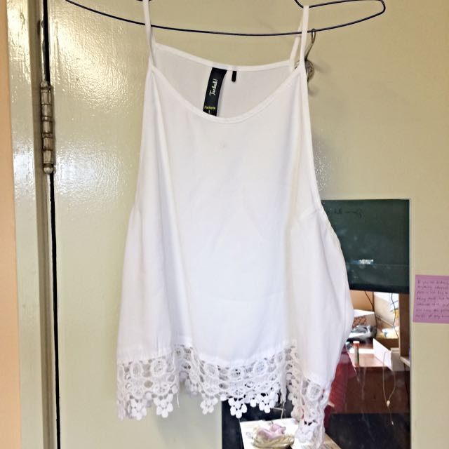 Factorie Cropped White Tank