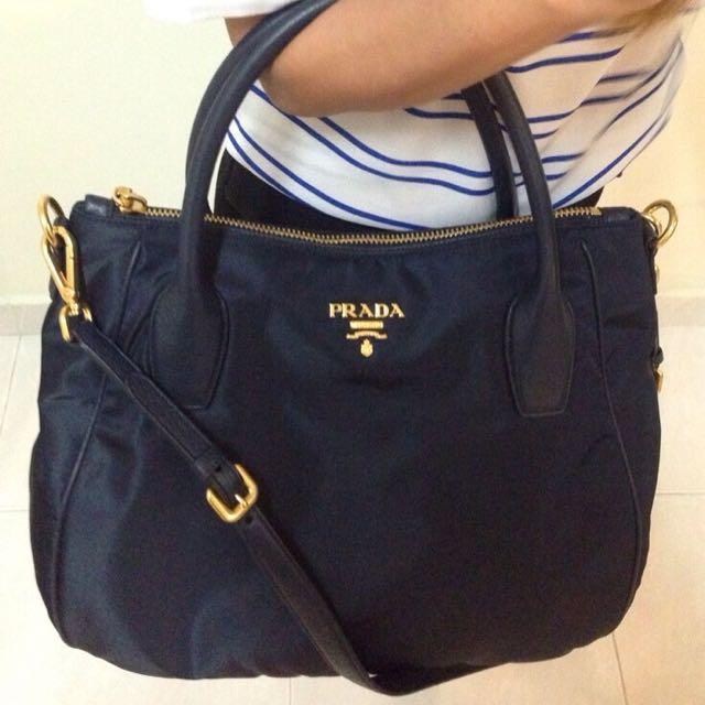 3771bf14be ... germany prada br4992 tessuto nylon convertible bag navy blue authentic  brand new luxury on carousell 4fa68