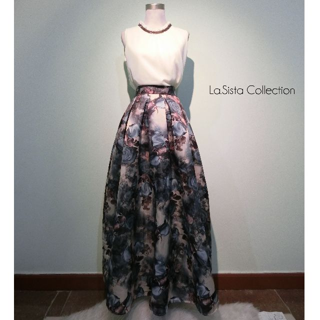 Sassy Top - Vintage Floral Satin Long Skirt