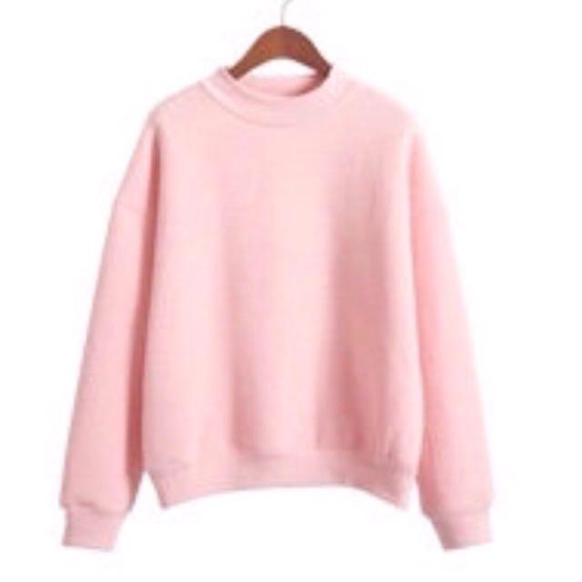 內刷毛大學T-粉色