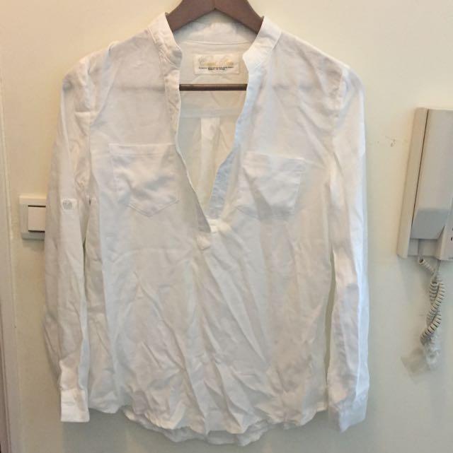 前V領有扣白襯衫 (賣場另有水藍)
