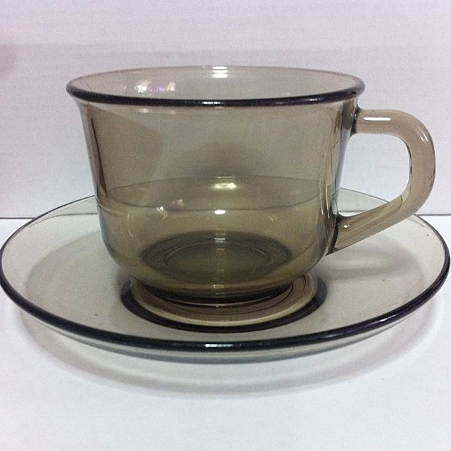 10pcs Set Vintage Arcoroc France Smoky Glass Cup With