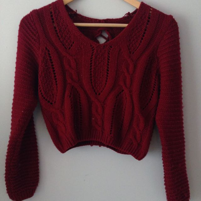 Wine Red Cropped Sweater