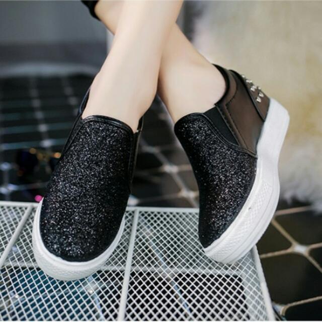 07黑色亮片鉚釘厚底鞋   內增高5公分