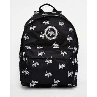 全新 現貨 HYPE 精緻刺繡小logo 黑色後背包 (白色繡線)