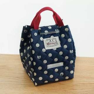 秋冬新款圓點保溫飯盒包便當包小朋友野餐外出媽媽副食品包
