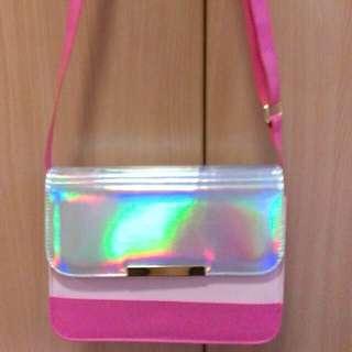 GU (日本)粉紅鐳射包/小包/側背包
