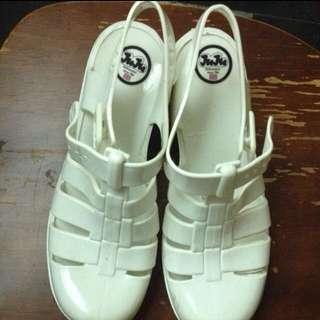 🇬🇧英國 Juju 正版 白色 雨鞋 高跟 25(40)