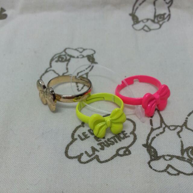 韓國帶回螢光粉&螢光黃&金色蝴蝶結造型戒指3件組