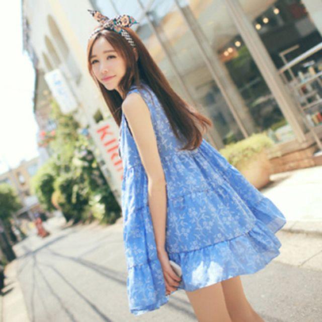 """""""私""""甜美森林系刺繡高腰洋裝(藍)"""
