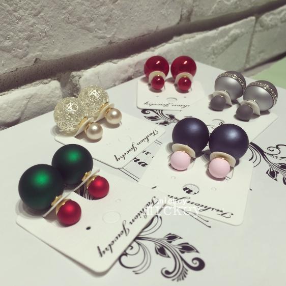 韓國大小珍珠球磨拼色水鑽耳釘耳環