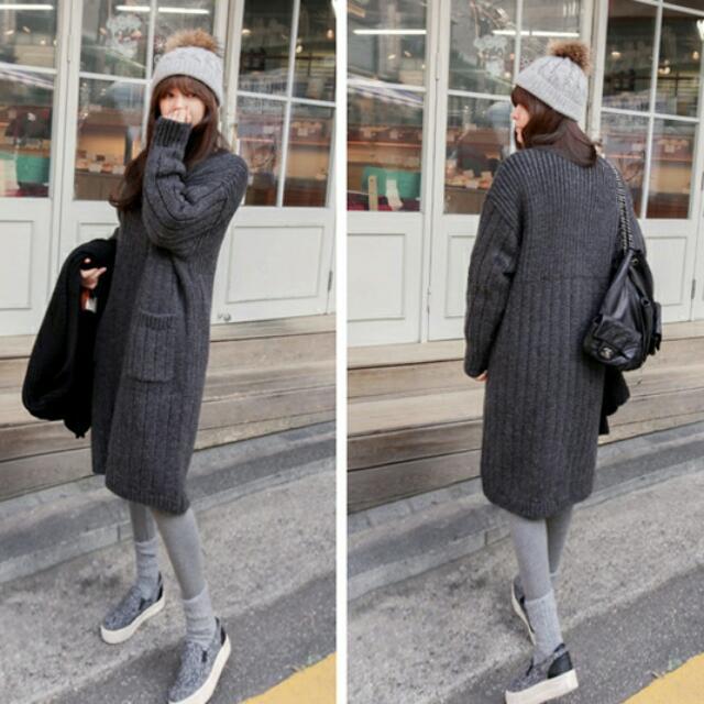 秋冬新款寬松加厚純色中長款針織外套