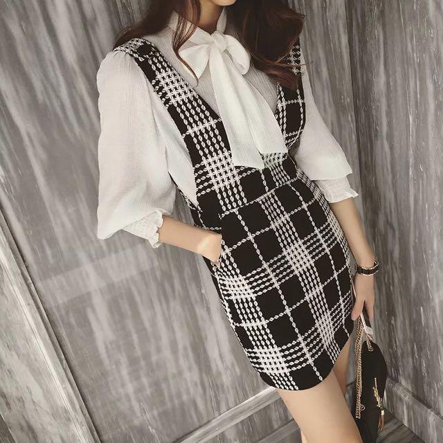 ❤️秋冬新款 蝴蝶結領口綁帶襯衫➕黑白格紋吊帶裙套裝