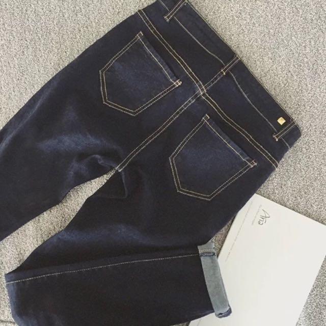 🍂秋季新款 時尚修身顯瘦 藏藍色 牛仔鉛筆小腳褲