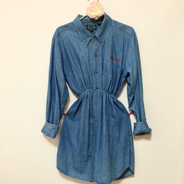 古著 長版 牛仔 洋裝 襯衫