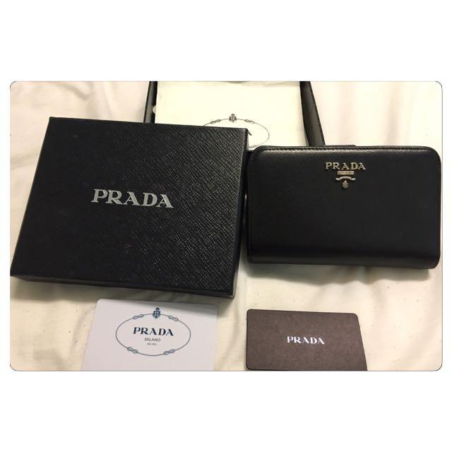 二手 Prada Saffiano Nero 黑1M1225A 中長夾 皮夾 錢包