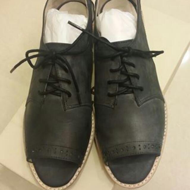 全新All Black  真皮灰色水洗樂福鞋