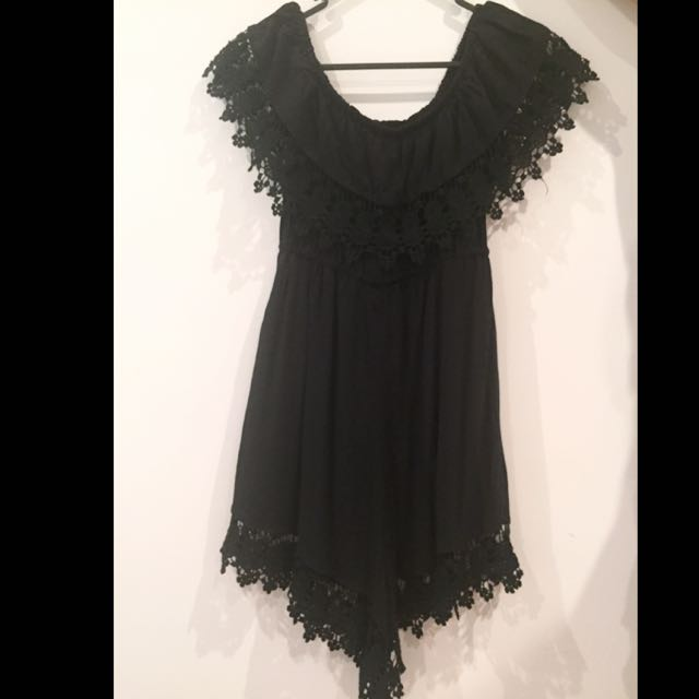 Black Lacy Off-the-shoulder Playsuit