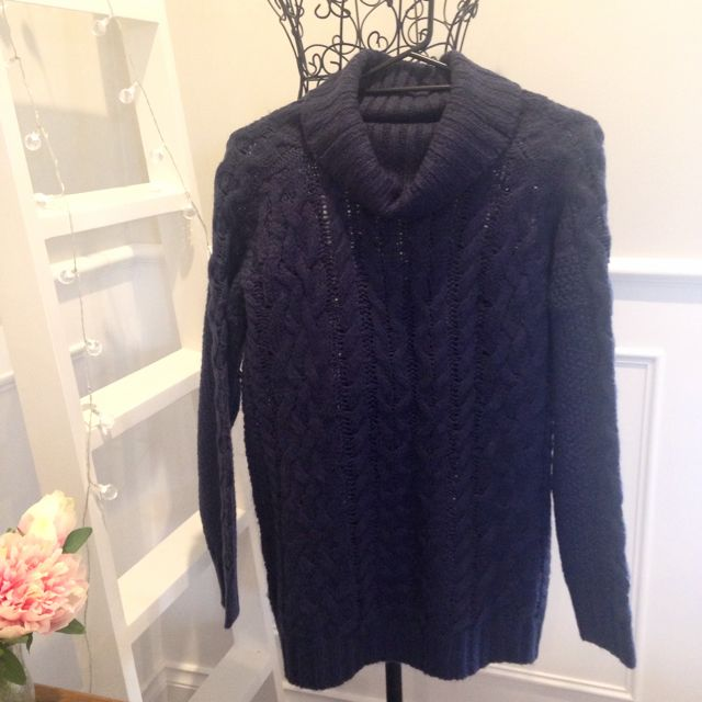 Cable Knit Navy Turtleneck