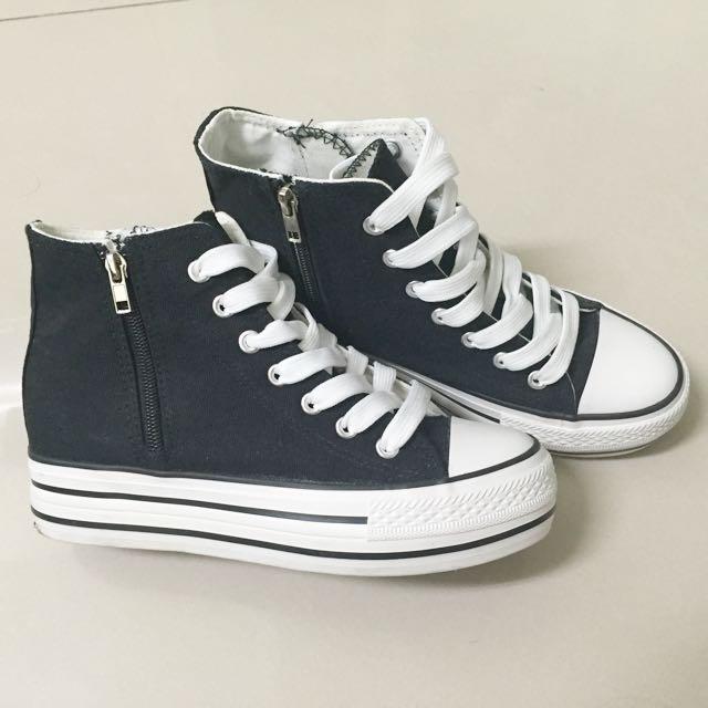 高筒內增高厚底黑白帆布鞋(似converse)(含運)