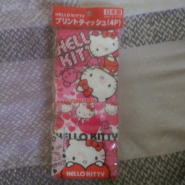 日本限定販售-hello Kitty袖珍面紙4包入