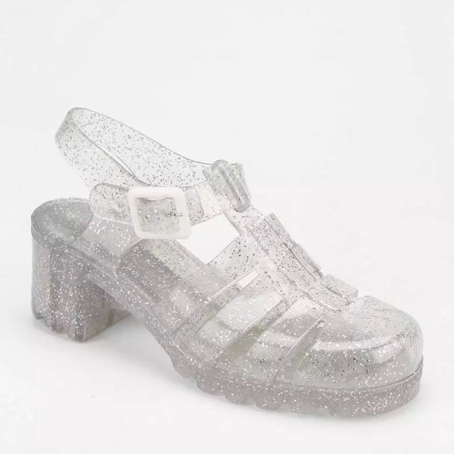 Jelly Sandals Silver Size 7 - New