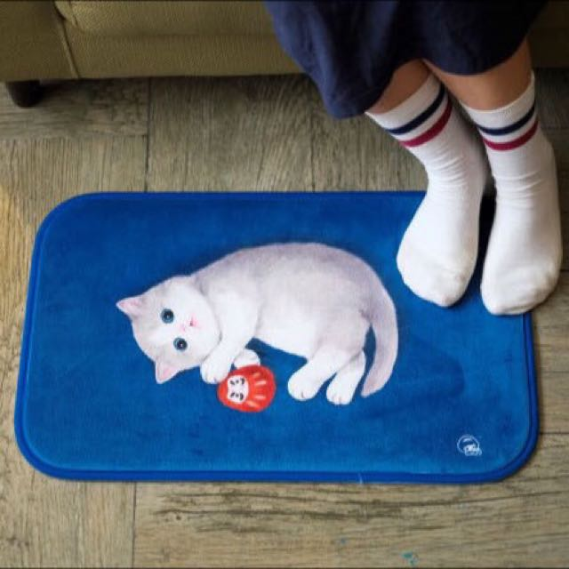 〈KUMA趣〉可愛小貓海水藍地毯 墊子 踩腳墊