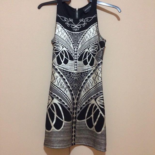 Minkpink Black and Metallic Silver Dress