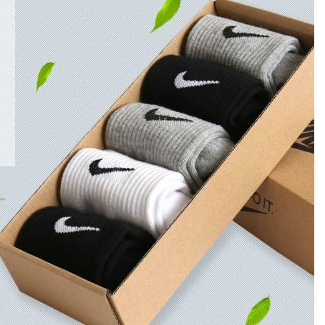 NIKE 中筒 加厚運動襪 毛巾襪 籃球襪 短襪 襪子 一盒五雙 顏色:黑、灰、白 材質:棉