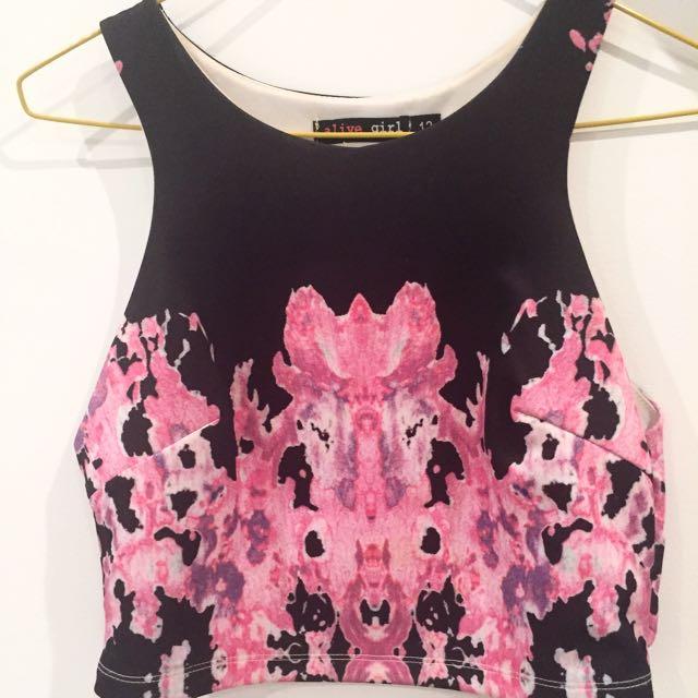 Pink & Black Crop
