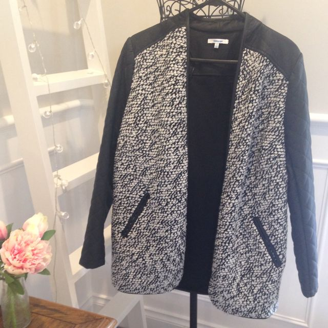 Quilted Sleeves Marled Coat