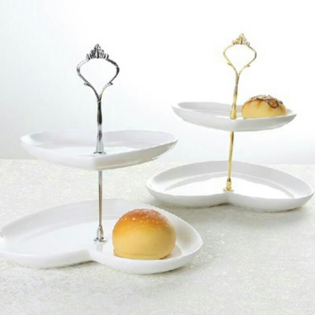 Two Tier Heart Shaped Dessert Tray Stand In White With Gold OR