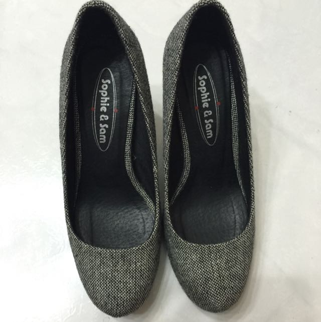 二手。sophie&sam 灰布高跟鞋。37號
