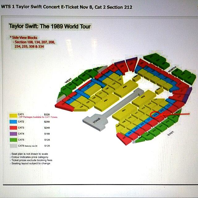 Taylor Swift Concert Ticket Cat 2 Sunday Nov 8th Entertainment On Carousell