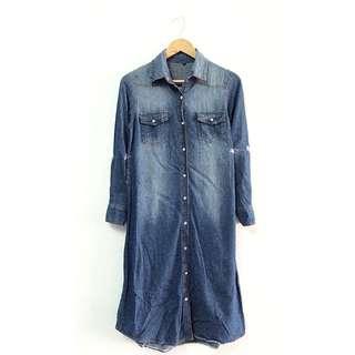 古著 長版牛仔洋裝(可當外套)