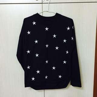 棉質星星薄長袖上衣