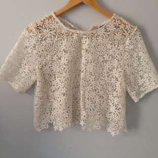 Lace Detailed White Top