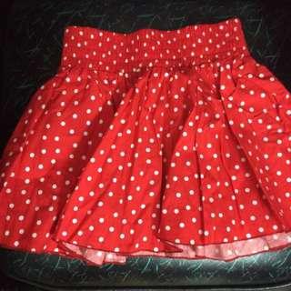 點點紅色小短裙 鬆緊