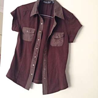 Brown Collared Tee