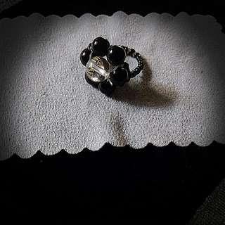 黑瑪瑙+白水晶五字真言戒指