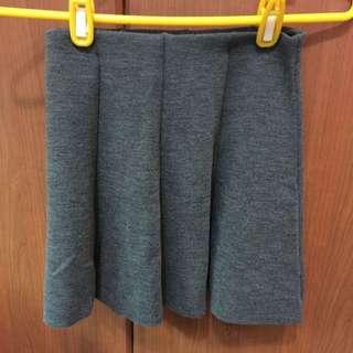 (已預訂)全新韓貨灰色毛呢鬆緊傘狀短裙