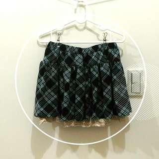 💮日系格紋蕾絲短裙