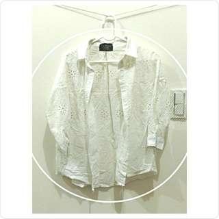 🌼復古米白雕花罩衫