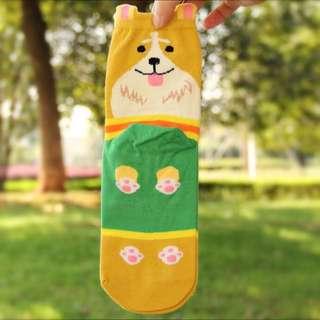 Corgi Dog Cute Socks (yellow)