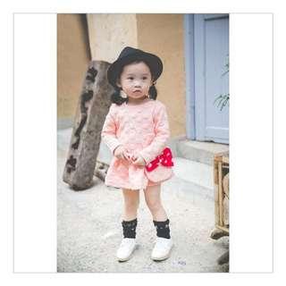女童點點可愛連身裙+包