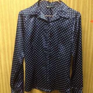 二手衣~藍點長袖襯衫