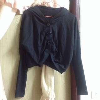 二手衣~黑色羅紋接袖外套