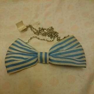 (贈品)全新條紋藍白蝴蝶結項鍊