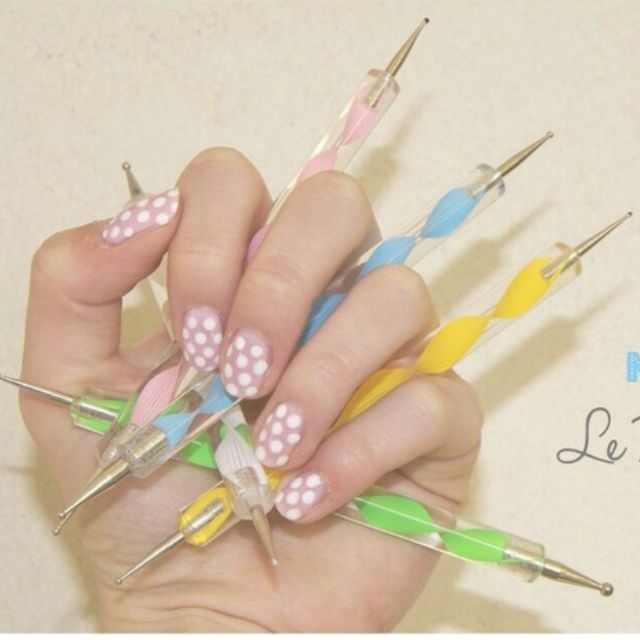 5 Pcsset Hot 2 Way Dotting Pen Painting Tool Nail Art Dot Womens